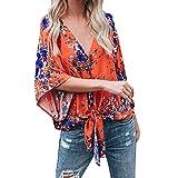 Spbamboo Womens Bandage Blouse Fashion Print T-Shirt Blouse Tops