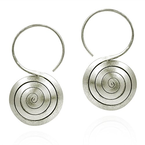 Tribe 20mm Hill Silver (Maze Spiral Rolled Thai Yao Hill Tribe Fine Silver .925 Sterling Silver Dangle Earrings)