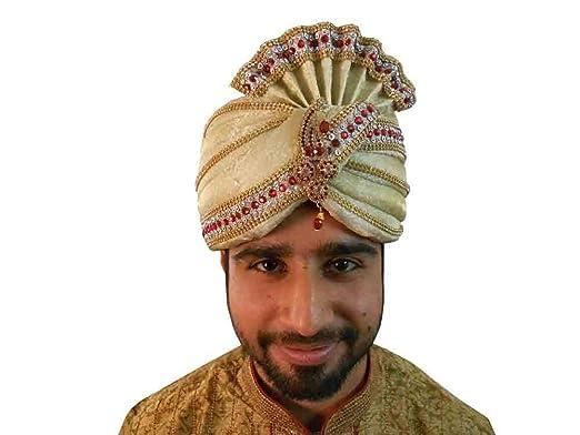 716eb7977ab Indian Groom Pagri Men Hat Sherwani Safa Handmade Turban Pag Top Hat   Amazon.co.uk  Clothing