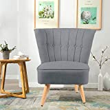 WarmieHomy Modern Linen Fabric Accent Chair Button Upholstered Occasional Chair High Wing Back with Solid Wooden Legs