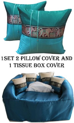 2 THAI ROYAL ELEPHANT PILLOW CASE AND TISSUE BOX COVER by HitHot