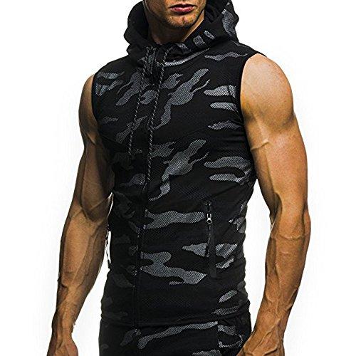 Corriee Vest for Men Summer Hoody Zipper Camouflage Print Tunic Tops Slim Fit Sport Shirts Men's Sleeveless T-Shirt
