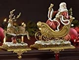 Set of 2 Josephs Studio Santa Claus and Reindeer Christmas Stocking Holders