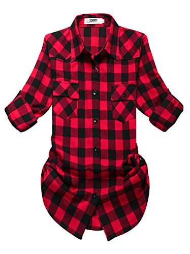 OCHENTA Women's Mid Long Style Roll Up Sleeve Plaid Flannel Shirt C056 Red Black Label 2XL - US 6