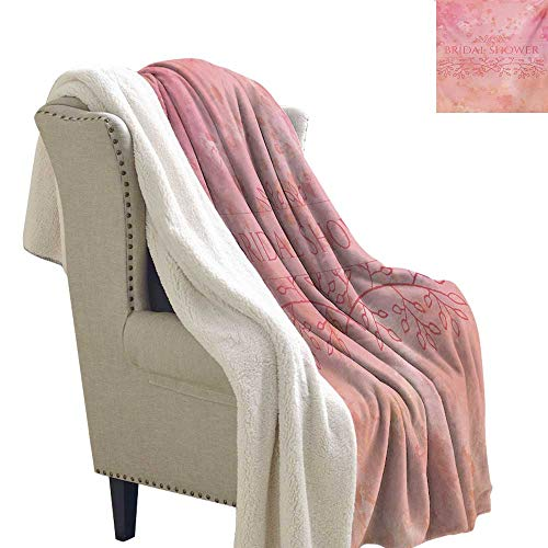 Sunnyhome Bridal Shower Throw Blanket 60x32 Inch Bride Invitation Grunge Abstract Backdrop Floral Design Print Fuzzy Blankets Pale Pink and Salmon -