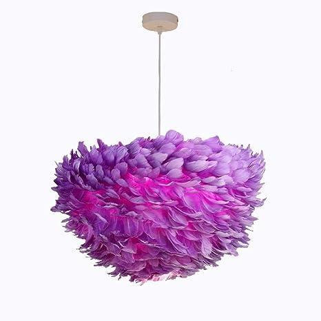 Post-it Moderno Lila plumas naturales lámpara colgante para ...