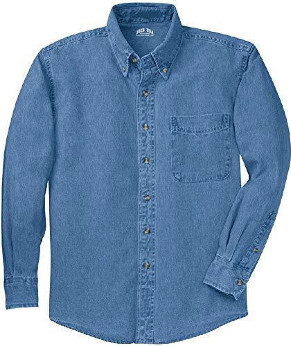 (Joe's USA 6.5-Ounce Tall Long Sleeve Denim Shirt-Faded-4XLT)