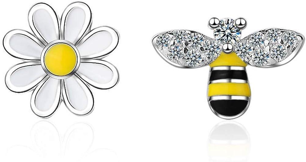 Qpodgq Arete Honey Bee Flower Daisy 925 Pendiente De Plata Esterlina Para Mujer Asimétrica Cubic Zirconia Esmalte Regalos De Joyería