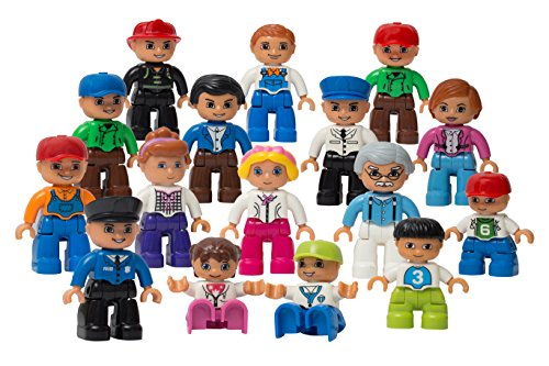 Play Build Community Figures Set – 16 Pieces – Bulk Starter Kit Includes Police Man, Farmer, Fire Fighter, Conductor, Mom, Dad, Grandpa, Kids & More – Compatible with LEGO DUPLO (Leg Starter Set)