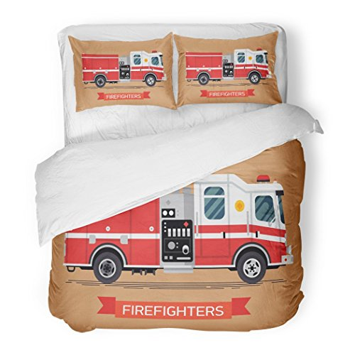 Set Red Aid Firefighters Design Cool Emergency Vehicle Fire Engine Truck in Trendy Flat Car Decorative Bedding Set 2 Pillow Shams King Size ()