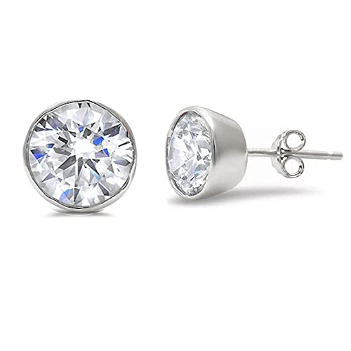 909a16796 2-10MM Sterling Silver Round Bezel Set Cubic Zirconia Earring Studs BEST  Gift! (