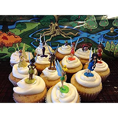 Disney Fairies Tinkerbell Deluxe Mini Figure Set Cake Toppers / Cupcake Party Favor Decorations Set of 12: Grocery & Gourmet Food