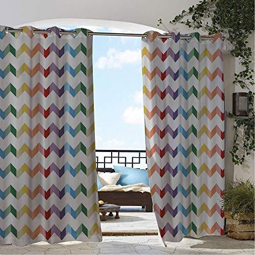 Linhomedecor Patio Waterproof Curtain Simple Iridescence Ripple 9 pergola Grommets Backdrop Curtains 108 by 72 inch