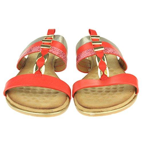 Punta playa Zapatos abierta de T Mujer Maravilloso Sandalias Bar Rojo Verano Comodidad Señoras Fijación Casual la hebilla Plano Tamaño IAnRqwz