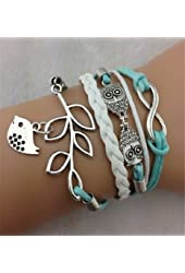TPT Vintage Handmade Infinity Silver 8 Owl Leaf Bird Leather Bracelet Wristband