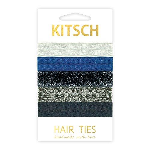 Kitsch 5 Piece Print Hair Ties Set, Blue Steel