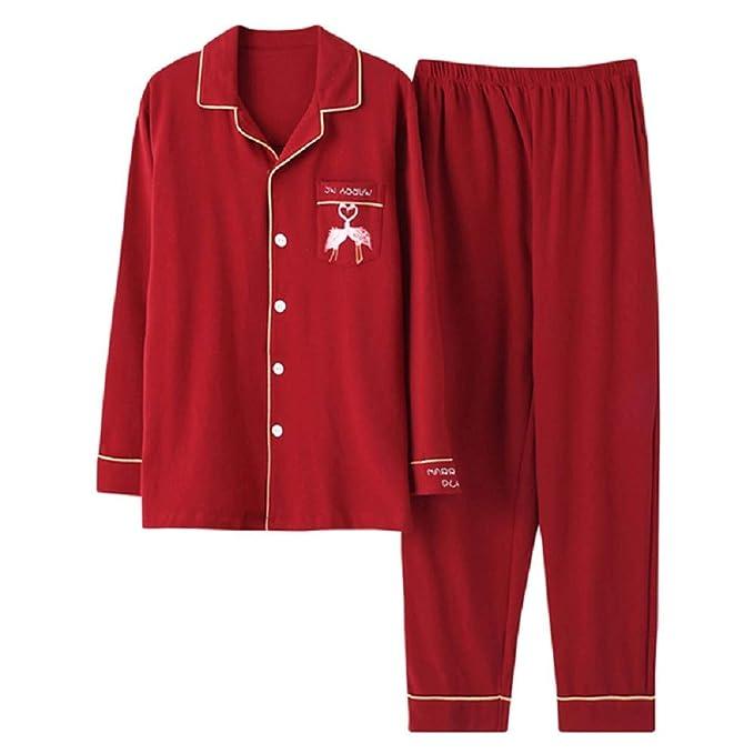 Mmllse Conjuntos De Pijama De Pareja De Rojo Ocasional Vestido Camisero De Algodón Ropa De Dormir De Animal Doméstico Ropa De Dormir Masculina Pijamas De ...