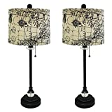 Royal Designs 28'' Crystal and Oil Rub Bronze Lamp with Vintage Map Postcard Design Drum Hardback Lamp Shade, Set of 6