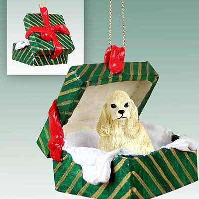 Cocker Spaniel Green Gift Box Dog Ornament - Buff Dog Green Gift Box