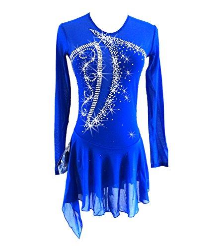 Blue Ice Figure Skating Dress For Girls Women Backless Long-sleeved Beaded Dresses (Womens Molded Figure Skates)