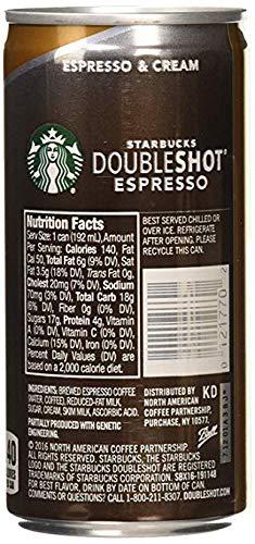 Starbucks Doubleshot, Espresso + Cream, 6.5 Ounce,