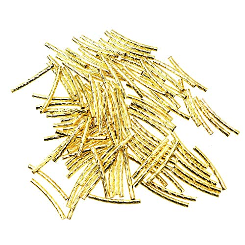 Monrocco 100Pcs Golden Plated Brass Long Curved Noodle Tube Spacer Beads 2x20mm 20 Mm Curved Tube