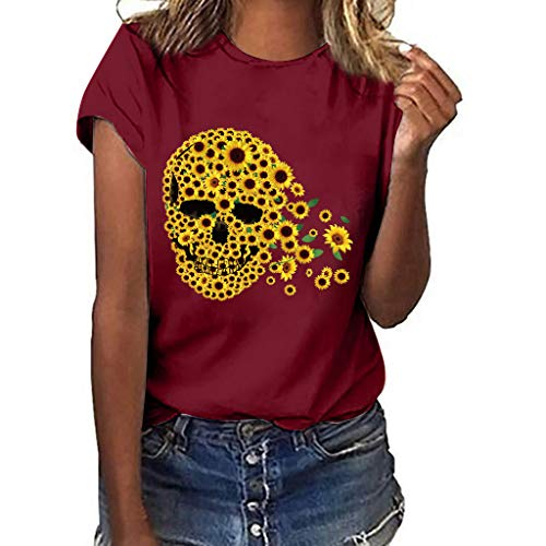 〓COOlCCI〓Women's Summer Street Style Funny Sunflower Printed Tops T Shirt Short Sleeve Tees Blouse T Shirt Junior Wine