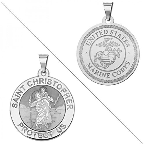 Saint Christopher Doubledside MARINES Religious Medal 1 Inch Solid 14K White ()
