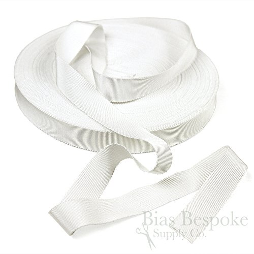 (3 Yards of Vera 1'' Cotton & Viscose Petersham Grosgrain Ribbon, White, Made in Italy)