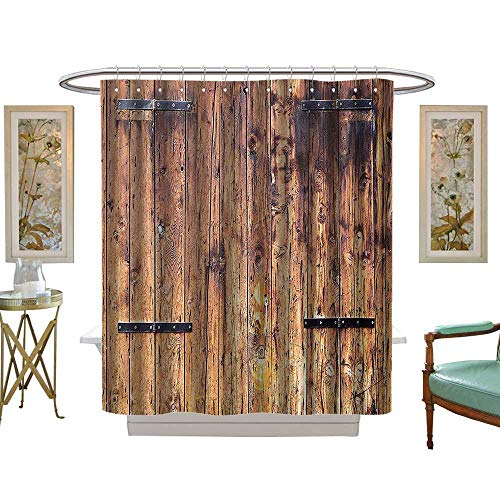 - luvoluxhome Shower Curtains Fabric Extra Long Rustic Antique Timber Planks in Weathered Tones with Metal Locks Vintage Country House Light Brown W72 x L84 Bathroom Set with Hooks