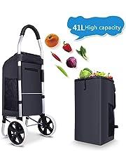 Folding Shopping Trolley Bag Cart, with Detachable Bag Shopping Trolley, Max Capacity 50 Kg