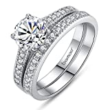Best Bamoer Wedding Rings - Bamoer 2016 Arrival 2 Pieces White Gold Plated Review