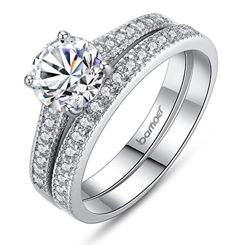 Bamoer 2016 Arrival 2 Pieces White Gold Plated Promise Engagement Ring sets with Sparking Big Round Cubic Zirconia for His and Hers Size 8