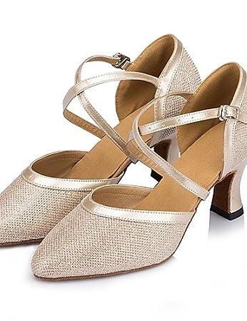 ShangYi Standard-Schuhe Frauen High Heels funkelnden Glitter Schnalle Tanzschuhe (mehr Farben)  silver-us6.5-...