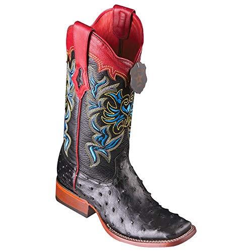 Los Altos Boots Women's Ladies Wide Square Toe #3220305   Genuine Ostrich Leather   Color Black
