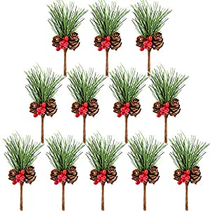 TUPARKA 12 PCS Artificial Pine Cone Picks Decor Holly Berry Stems Picks for Christmas Flower Arrangements Wreaths Decorations and Holiday Crafts and Floral Projects Decorations 80