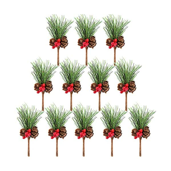 Sunm Boutique Artificial Pine Picks Artificial Plants Small Pine Picks for Christmas Flower Arrangements Wreaths and Holiday Decorations