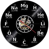 Crazypicky Chemical Element Periodic Vinyl Record 3D Wall Clock Study Chemistry School Collehe Classroom Living Room Wall Art Decor