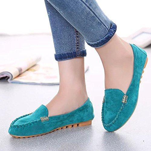 Bleu Chaussures On Femmes Comfort Plates Mocassins Slip YR4xvq