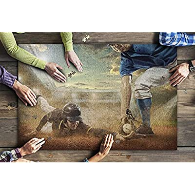 Painting of Baseball Players in Action on The Field 9012608 (Premium 1000 Piece Jigsaw Puzzle for Adults, 20x30, Made in USA!): Toys & Games