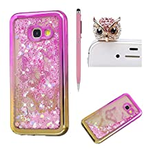 For Samsung Galaxy A5 2017 Liquid Case,For Samsung Galaxy A5 2017 Gradient Plating Frame Silicone,SKYXD Creative Colorful Glitter Flash Quicksand Soft Bumper Rubber Case Cover for Samsung Galaxy A5 2017+Stylus+Dust Plug,Pink Gold