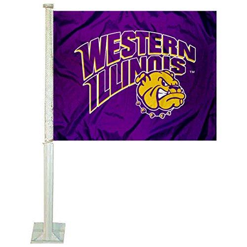WIU Leathernecks Car and NCAA Auto Flag - Western Illinois Leathernecks Car