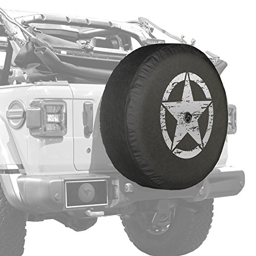"""Boomerang - 32"""" Soft JL Tire Cover for Jeep Wrangler JL (with Back-up Camera) - Sport & Sahara (2018-2020) - Distressed Star - Silver Print - Made in The USA"""