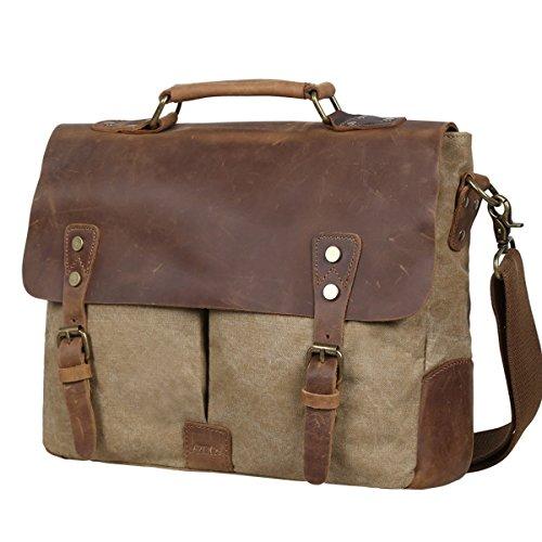 S-ZONE Leather Vintage Canvas Laptop Messenger Shoulder B...