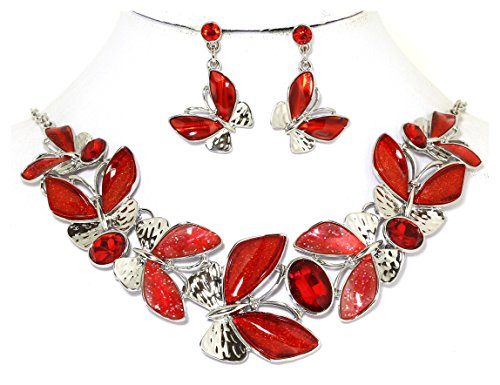 - Red Butterfly Necklace Earrings Set Rhinestone Silver Tone Alloy AnsonsImages 19