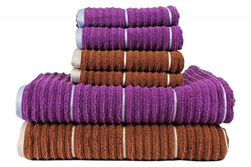 CASA COPENHAGEN Linea Ribbed Zero Twist Cotton 6-Pieces Bath and Hand Towels Combo, Toffee & Sparkling Grape (6 Piece Towel Set Grape)