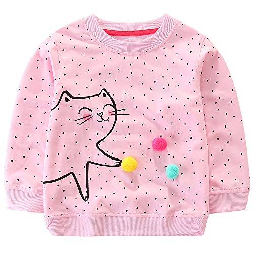 Bumeex Toddler Girls Cotton Crewneck Cute Sweatshirts Size 7 Light Pink