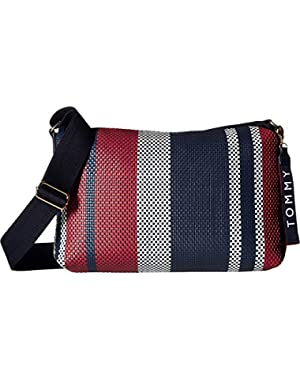 Womens Classic Tommy Woven PVC Crossbody
