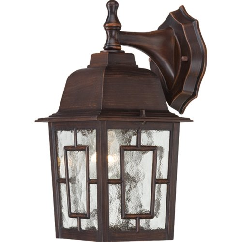 (Nuvo Lighting 60/4922 Banyon One Light Wall Lantern/Arm Down 100 Watt A19 Max. Clear Water Glass Rustic Bronze Outdoor)