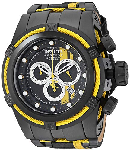 Invicta Men's Reserve Stainless Steel Quartz Watch with Leather-Synthetic Strap, Black, 27 (Model: 26472) (Invicta 53mm Watch)